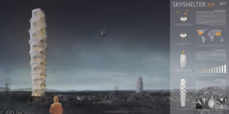 Раскладной небоскреб для зон бедствий